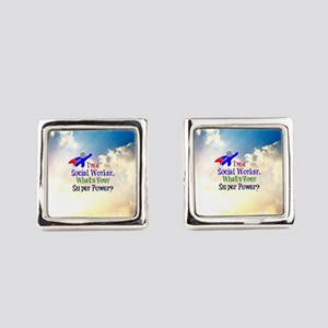 Social Worker Superhero Square Cufflinks