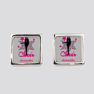 Pink Cheerleader Square Cufflinks