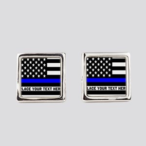 Thin Blue Line Flag Square Cufflinks