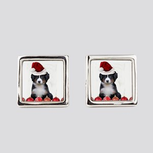 Christmas Bernese Mountain Dog Square Cufflinks