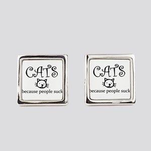 Cats because people suck Square Cufflinks