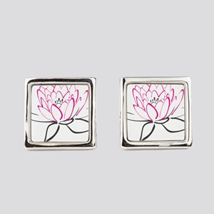 Lotus Flower Square Cufflinks