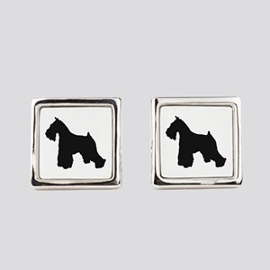 schnauzer black 2 Square Cufflinks