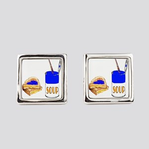 Soup and sandwich Square Cufflinks