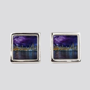 Spacey Chicago Skyline Square Cufflinks