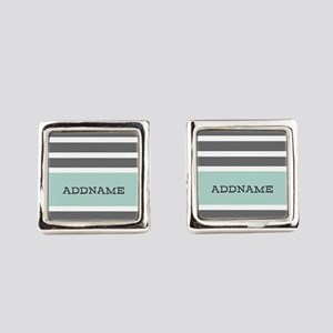 Gray and Mint Stripes Personalize Square Cufflinks