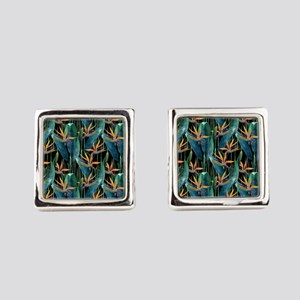 Watercolor Painting Tropical Bird Square Cufflinks