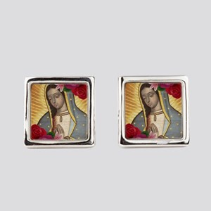 Virgin of Guadalupe with Roses Square Cufflinks