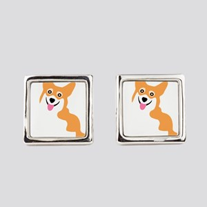 Cute Corgi Dog Square Cufflinks