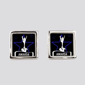 Black and Blue Cheerleader Square Cufflinks