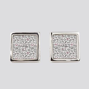 Whimsical Cartoon Cat Pattern Square Cufflinks