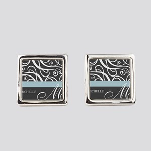 Elegant Grey White Swirls Monogram Cufflinks