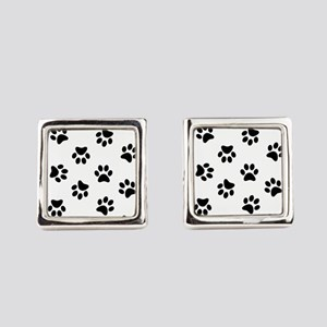 Black Pawprint pattern Square Cufflinks