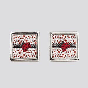 Charming Ladybugs and Red Flowers Square Cufflinks