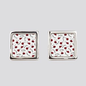 Little Red Ladybugs Square Cufflinks
