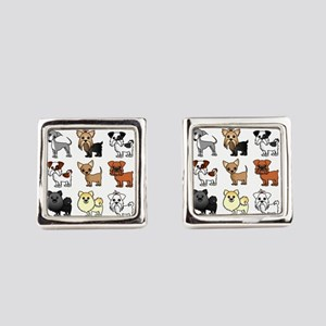 Cute Toy Dog Breed Pattern Square Cufflinks