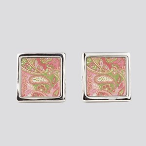 Baby Pink Paisley Watercolor Square Cufflinks