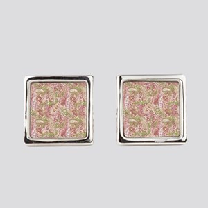 Baby Pink Watercolor Paisley 2 Square Cufflinks
