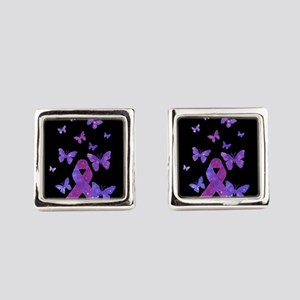 Purple Awareness Ribbon Square Cufflinks
