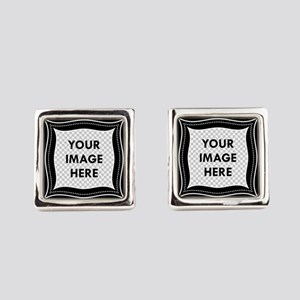 CUSTOM Photo Frame Black Square Cufflinks