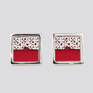 Ladybugs and Dots Square Cufflinks