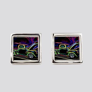 1940 Ford Pick up Truck Neon Square Cufflinks