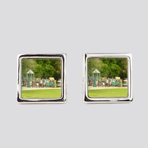 nature park, playground Square Cufflinks