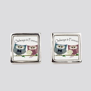 Owlways & Forever Cute Owls art Square Cufflinks