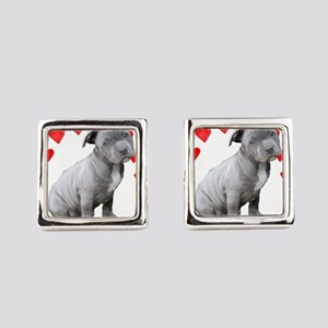 Valentine's Pitbull Puppy Square Cufflinks