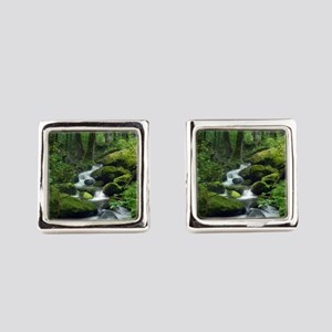 Summer Forest Brook Square Cufflinks
