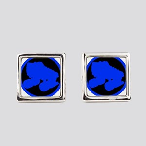 Circle Skate Blue Square Cufflinks