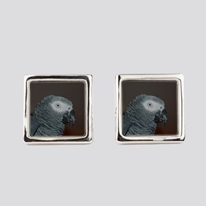 African Grey Parrot Square Cufflinks