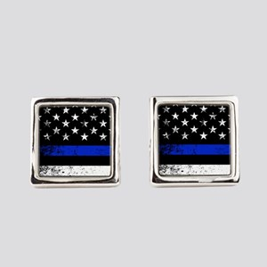 Horizontal style police flag Square Cufflinks