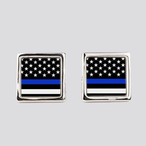 Thin Blue Line American Flag Square Cufflinks