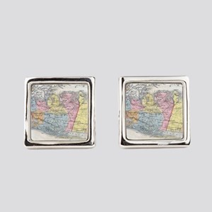 Vintage Map of Long Island New Yo Square Cufflinks