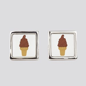 Chocolate Soft Serve Ice Cream Co Square Cufflinks