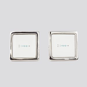 Stethescope Heart Rate Monitor Square Cufflinks