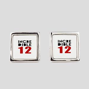 Incredibla 12 Birthday Square Cufflinks