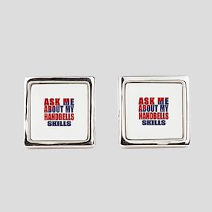 Ask About My Handbells Skills Square Cufflinks