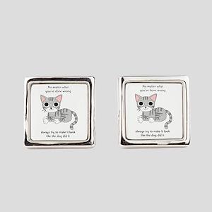 Cat Rules Square Cufflinks
