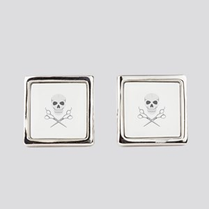 Skull Scissors Square Cufflinks