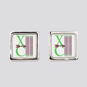 XC Run Green Purple Square Cufflinks
