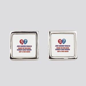 57 year old designs Square Cufflinks
