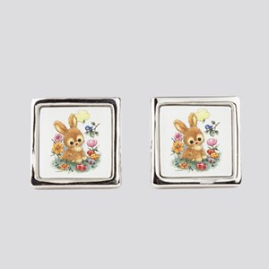 Cute Easter Bunny With Flowers Square Cufflinks
