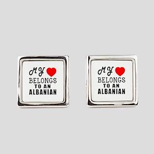 I Love Albanian Square Cufflinks