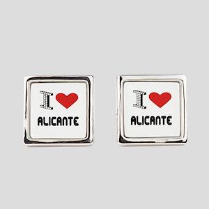 I Love Alicante City Square Cufflinks