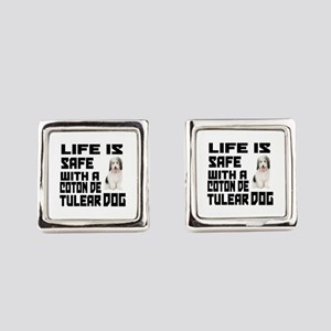 Life Is Safe With A Coton De Tule Square Cufflinks