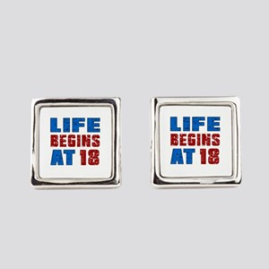 Life Begins At 18 Square Cufflinks