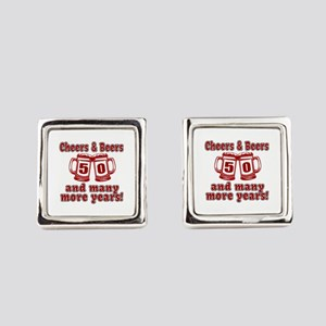 Cheers And Beers 50 And Many More Square Cufflinks