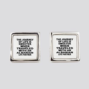 Traveled With Albanian Life Partn Square Cufflinks